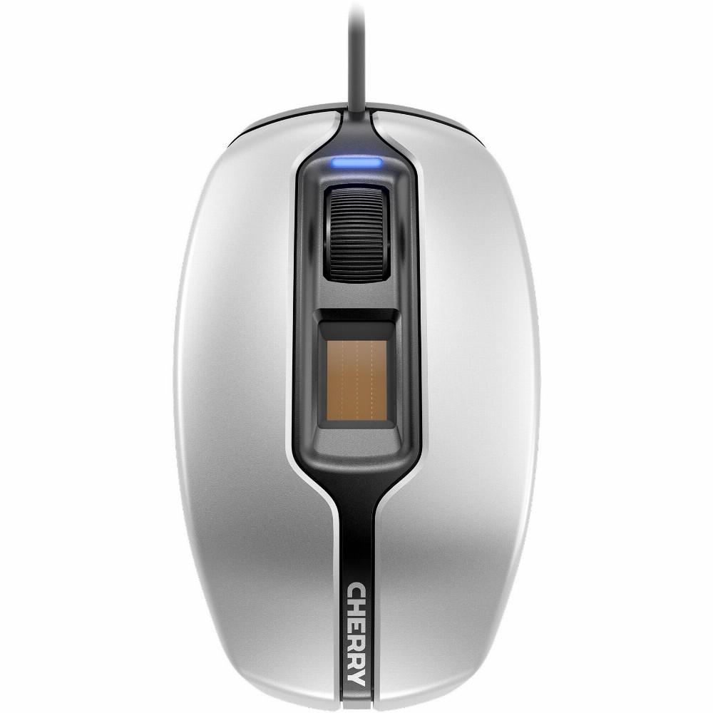 CHERRY MC 4900 Kabelgebundene Fingerabdruck-Maus, Silber/ Schwarz USB, Beidhändig, Optisch, USB Typ-A, 1375 DPI, Schwarz, Silber