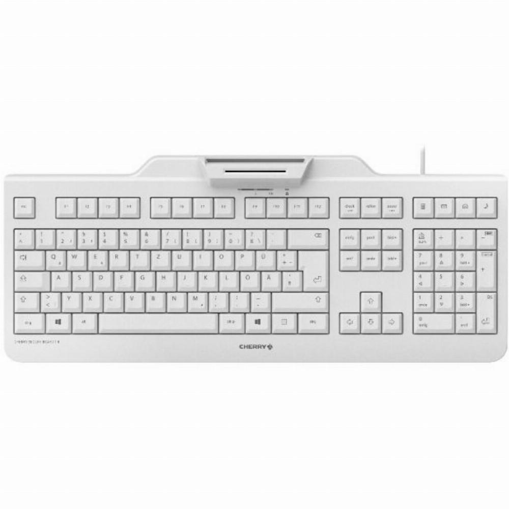 CHERRY SECURE BOARD 1.0 Kabelgebundene Chipkarten Tastatur, Hell Grau, USB (QWERTZ - DE), Standard, USB, Mechanischer Switch, QWERTZ, Grau
