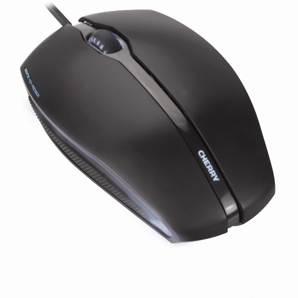 CHERRY GENTIX CORDED ILLUMINATED Maus, Schwarz, USB, Beidhändig, Optisch, USB Typ-A, 1000 DPI, Schwarz