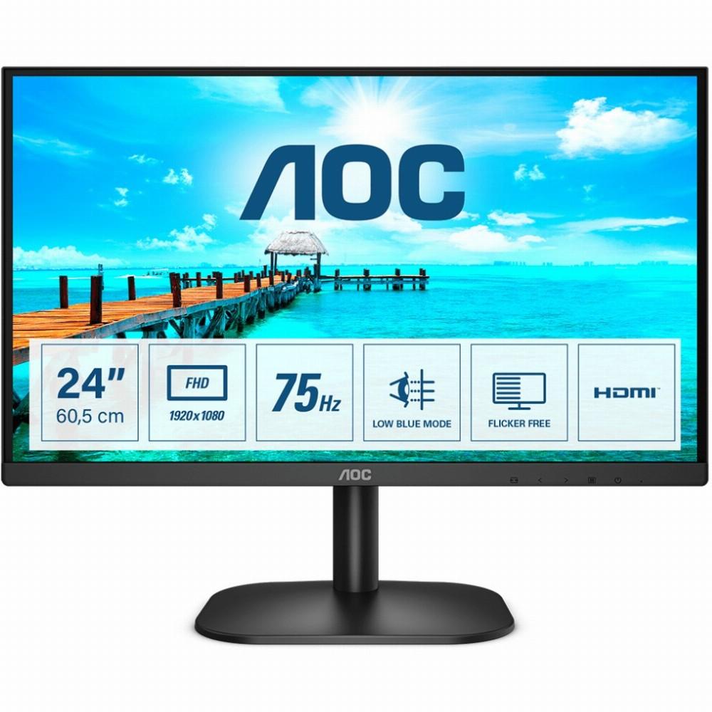 AOC B2 24B2XHM2, 60,5 cm (23.8 Zoll), 1920 x 1080 Pixel, Full HD, LCD, 4 ms, Schwarz